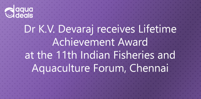 Dr K.V. Devaraj receives Lifetime Achievement Award at the 11th Indian Fisheries and Aquaculture Forum, Chennai